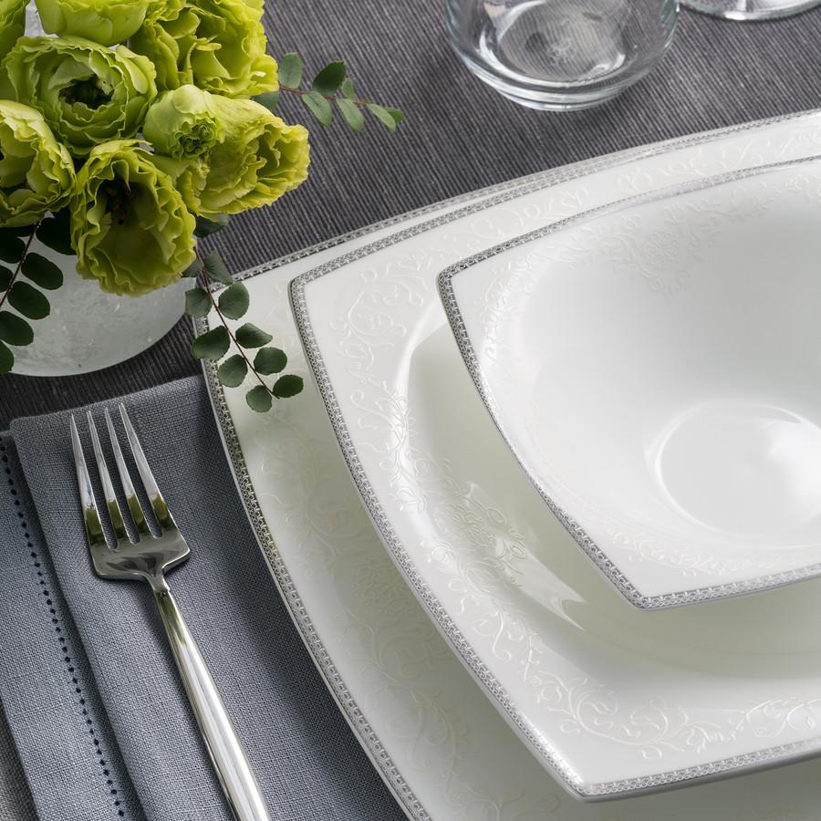 Karaca Fine Pearl Neklus 62 Parça 12 Kişilik Kare İnci Yemek Takımı