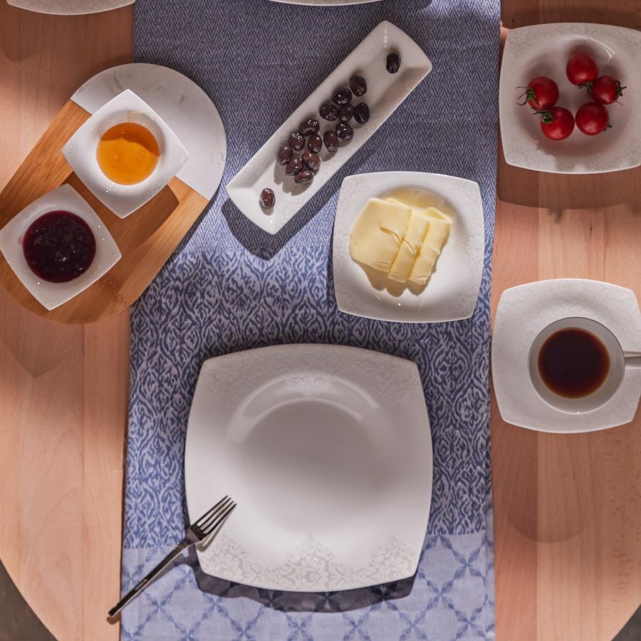 Karaca Fine Pearl Helen 26 Parça 6 Kişilik Kare İnci Kahvaltı Takımı