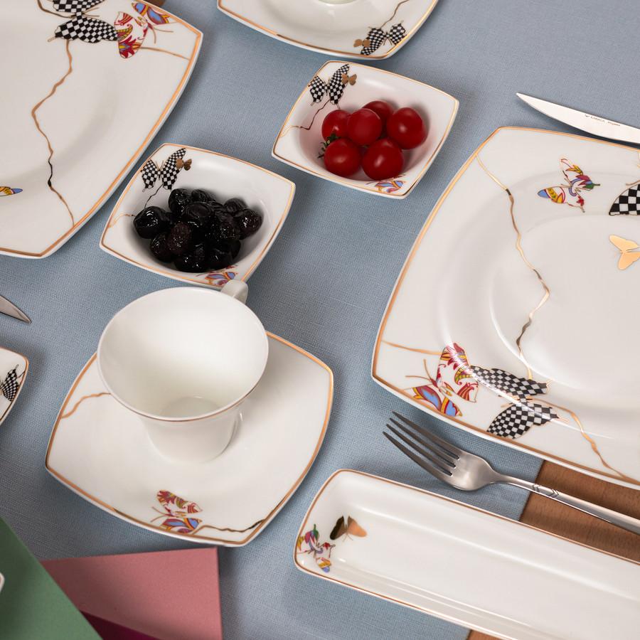 Karaca Fine Pearl Unique 26 Parça 6 Kişilik Kare İnci Kahvaltı Takımı