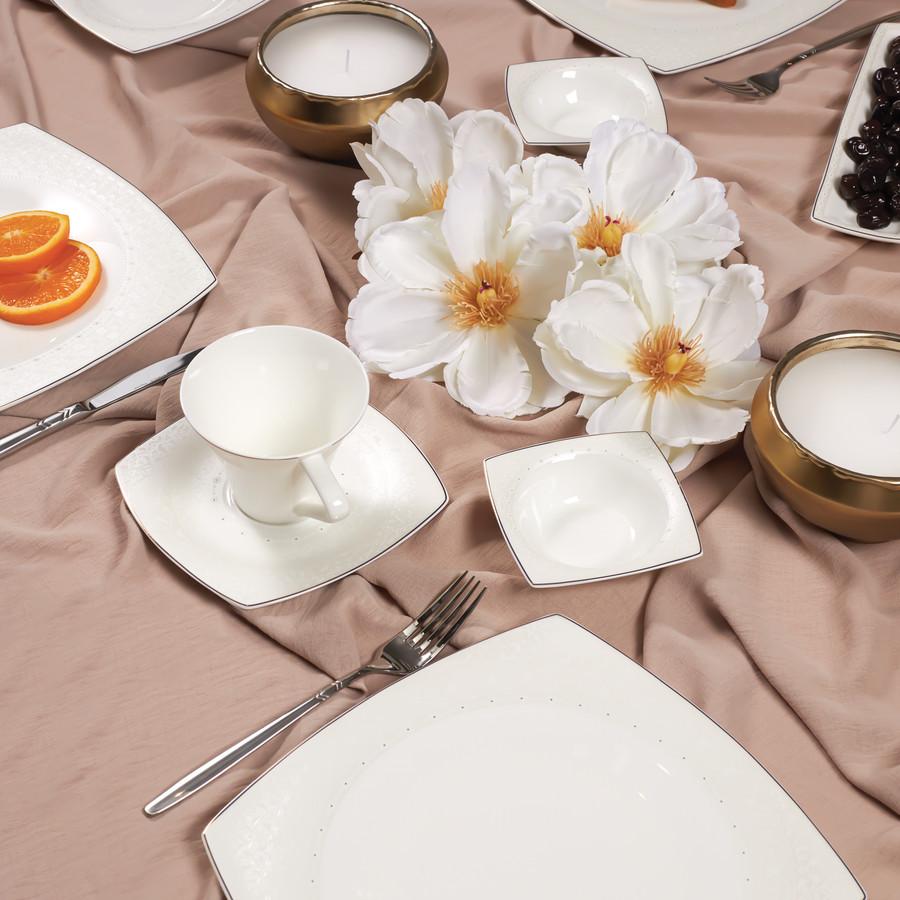 Karaca Fine Pearl Belha 26 Parça 6 Kişilik Kare İnci Kahvaltı Takımı