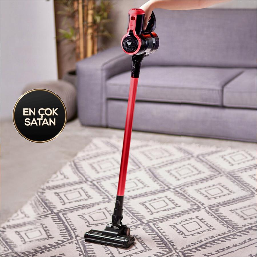 Karaca Vantuz Slim X10 Kablosuz Dikey Süpürge Kırmızı