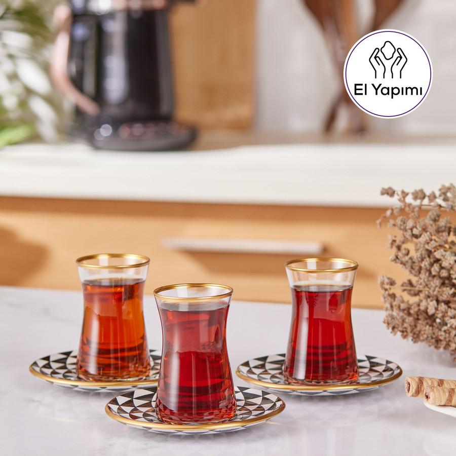 Karaca Black Gold 6lı Çay Seti