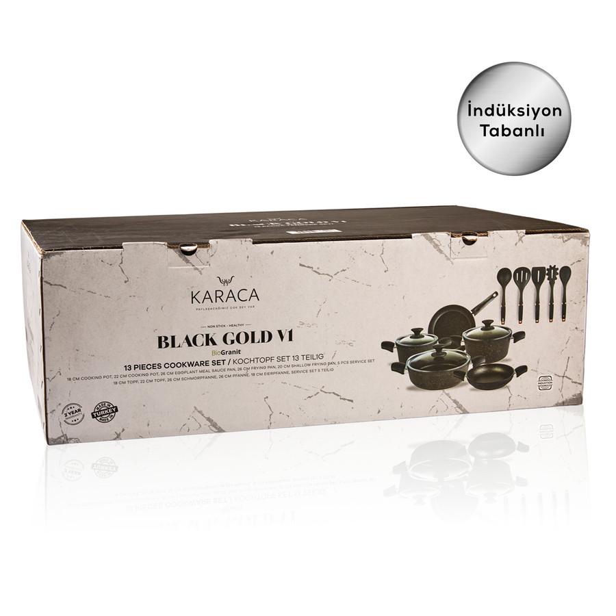 Karaca Biogranit Blackgold New İndüksiyon Tabanlı 13 Parça Tencere Seti