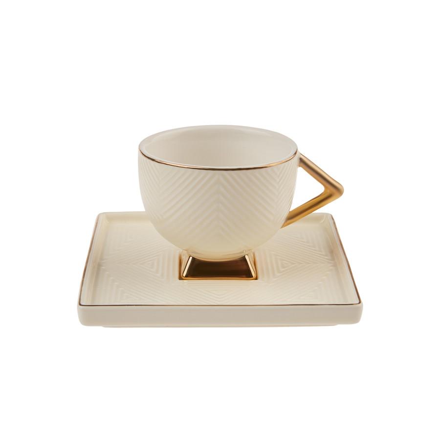 Karaca Art Deco Krem 2 Kişilik Kahve Fincanı Takımı