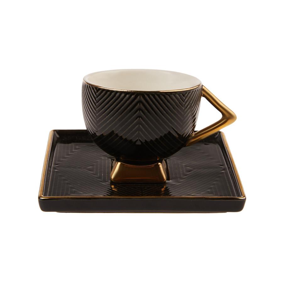Karaca Art Deco Siyah 2 Kişilik Kahve Fincanı Takımı