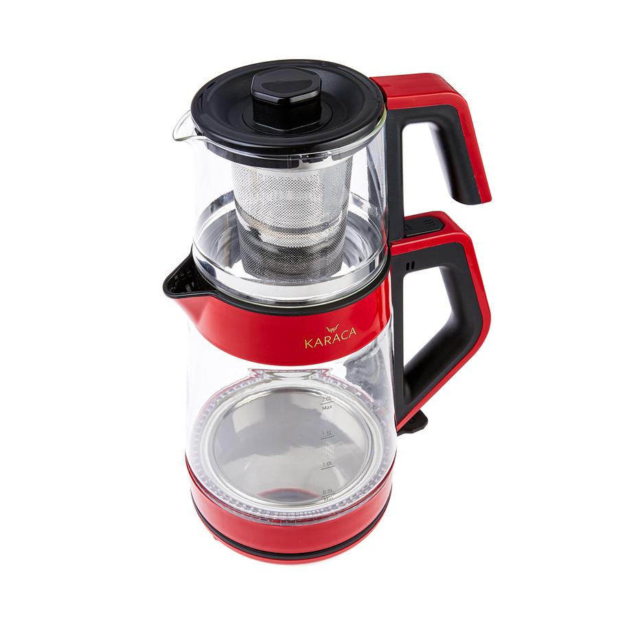 Karaca Retro Kırmızı Cam Led Işıklı Çay Makinesi