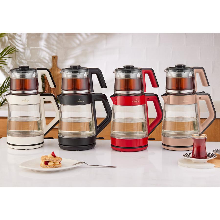 Karaca Rosegold Cam Led Işıklı Çay Makinesi