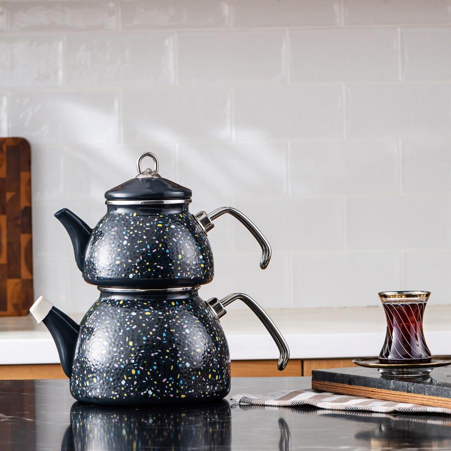Karaca Emaye Terazzo Antrasit Çaydanlık Takımı