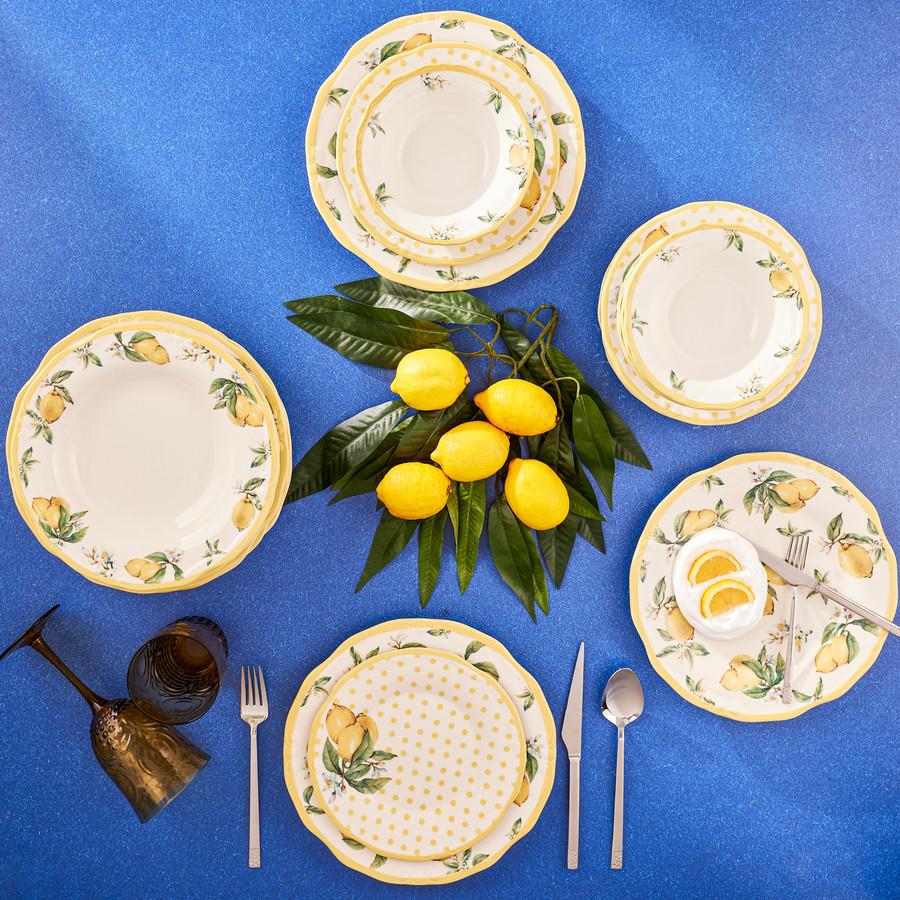Karaca Puantiyeli Limon 24 Parça 6 Kişilik Yemek Takımı
