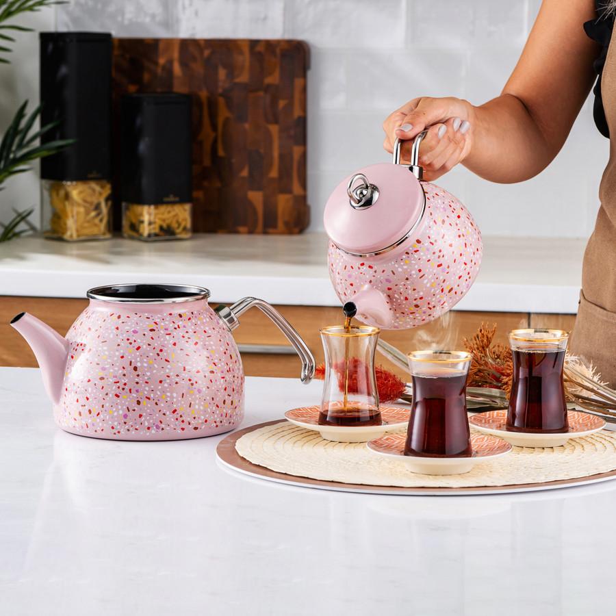 Karaca Emaye Terazzo Pembe Çaydanlık Takımı