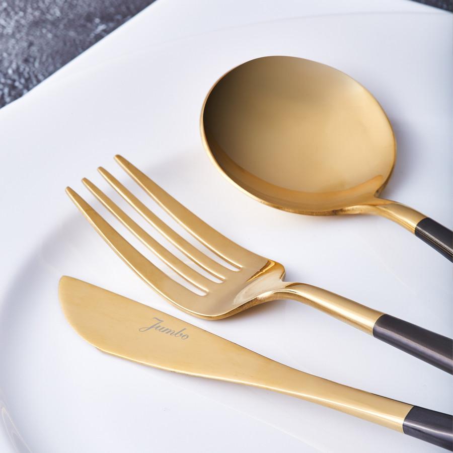 Jumbo Colors 30 Parça Çatal Kaşık Bıçak Seti Siyah Parlak Altın