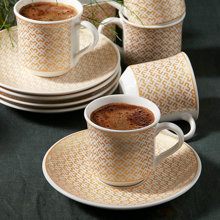 Apricot Vivi Bronz 6 Kişilik Kahve Fincanı Takımı
