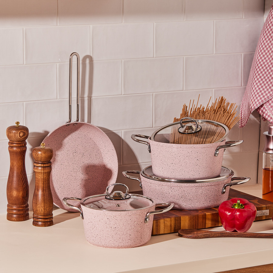 Cookplus Biogranit Alfa Pink 7 Parça Tencere Seti