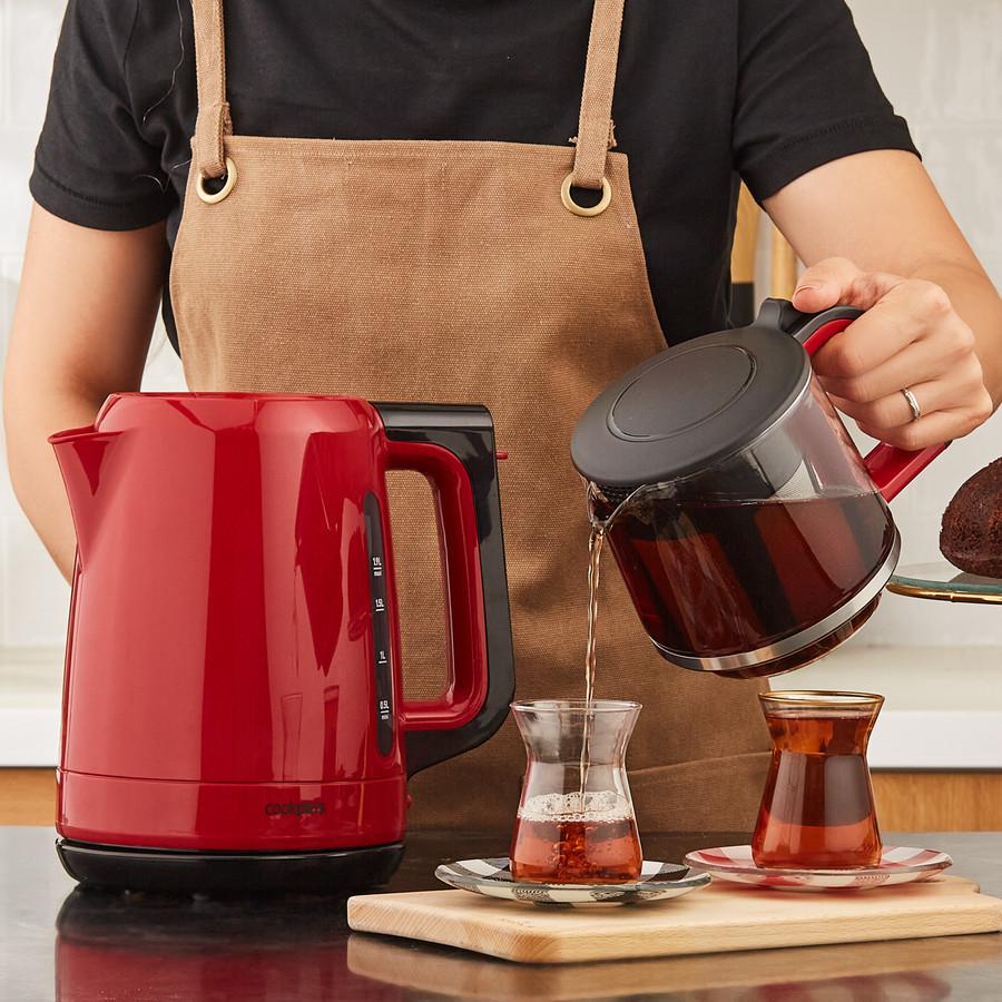 Cookplus 1501 Enerji Tasarruflu Kettle Çay Makinesi Retro Kırmızı