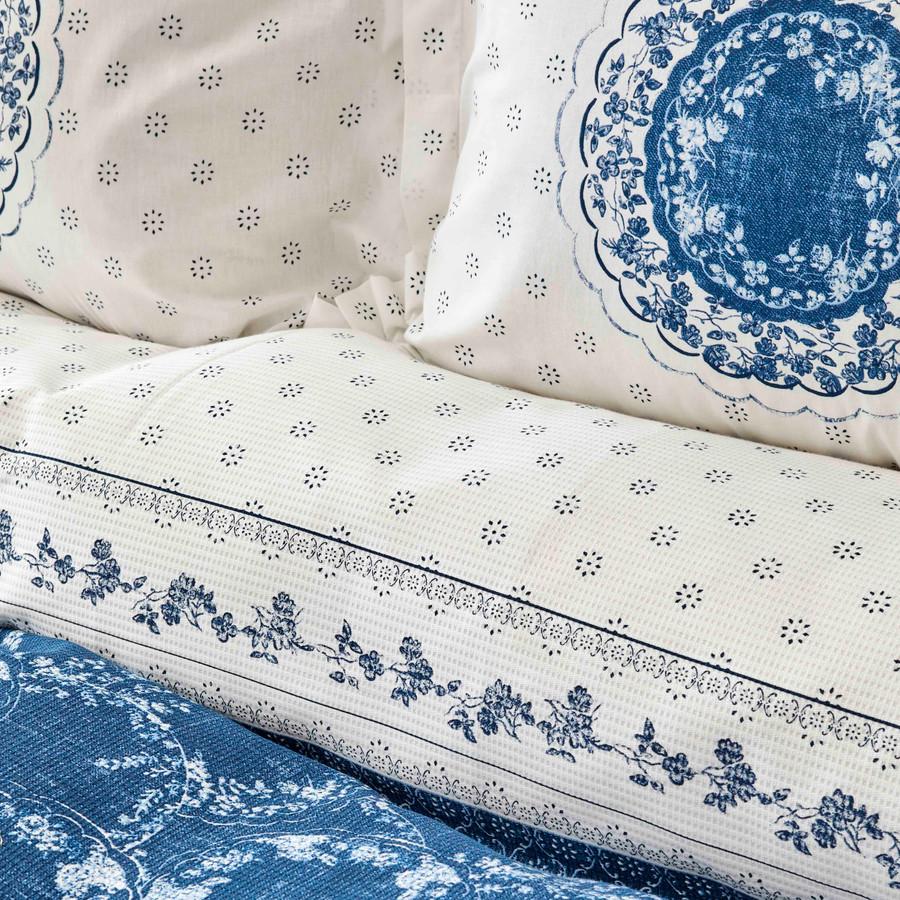 Sarah Anderson Belina Mavi Çift Kişilik Pike Yastık Set