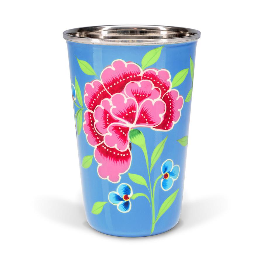 3rd Culture 3rd-2081 Çiçekli Açık Mavi Bardak